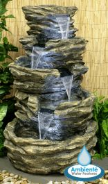 H98cm 4-Tier Rock Cascade Water Feature with Lights | Indoor/Outdoor Use by Ambienté
