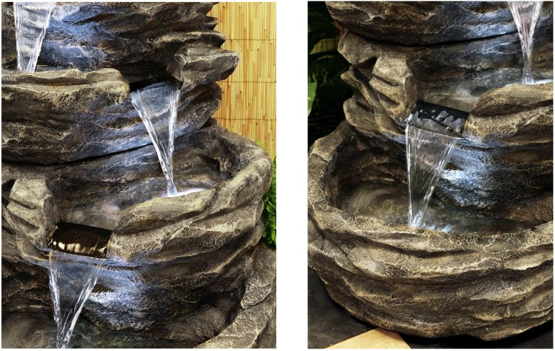 4 Tier Rock Cascade Water Feature with Lights by Ambienté