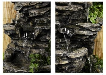 H147cm 8 Tier Rock Cascade Water Feature with Lights by Ambienté™