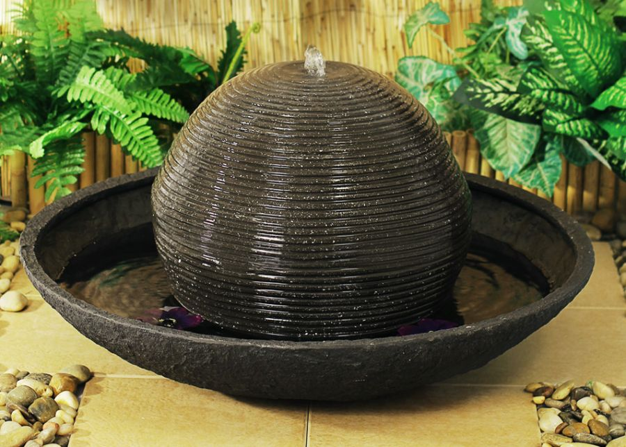 Dark Stone effect Ball and Bowl Outdoor Water Feature