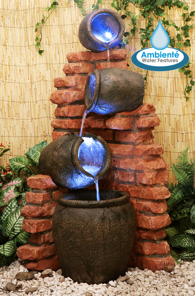 H119cm Regal 4-Tier Oil Jar Water Feature with Lights by Ambienté™