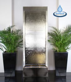 H174cm Giant Brushed Stainless Steel Water Wall Cascade | Indoor/Outdoor Use by Ambienté