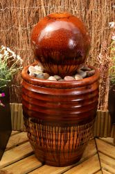 The Guadalajara - Glazed Effect Ribbed Sphere Water Feature