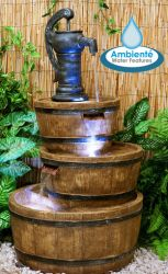 H92cm London 3-Tier Barrel & Pump Water Feature with Lights by Ambienté