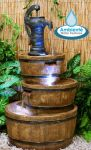 London 3-Tier Barrel and Pump Water Feature with LED Lights by Ambienté W49cm x H92cm