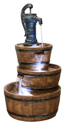 W49cm x H92cm London 3-Tier Barrel and Pump Water Feature with LED Lights by Ambienté™