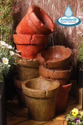 H82cm Stacked Plant Pot Cascading Water Feature with Lights by Ambienté