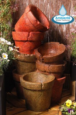 Stacked Plant Pot Cascading Water Feature with Lights by Ambienté - H82cm
