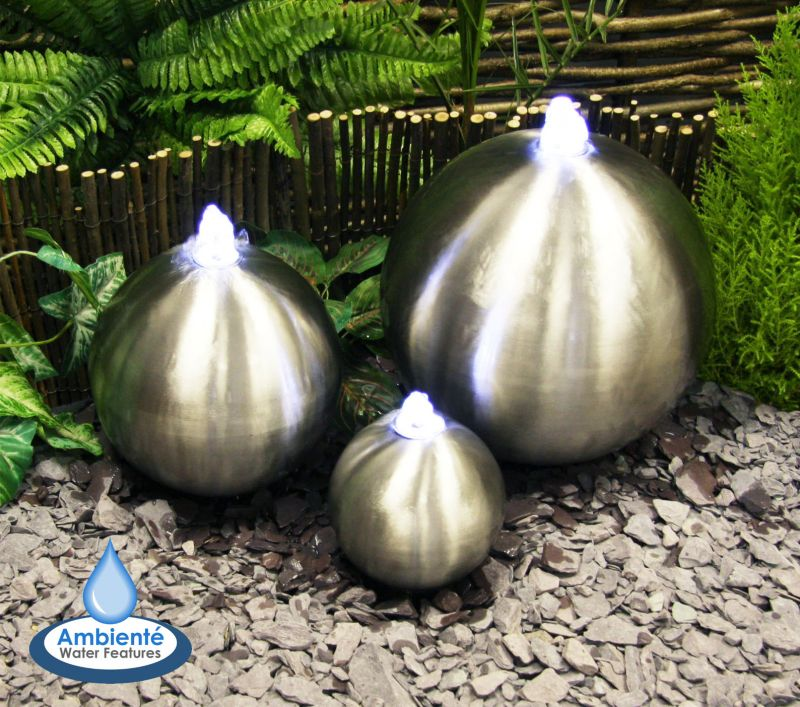 Triple Brushed Stainless Steel Spheres Water Feature with Lights