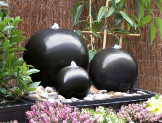H30cm Triple Sphere Ceramic Water Feature with Lights by Ambienté