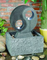 Yin And Yang Water Feature With LED Lights