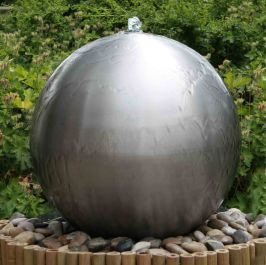 45cm Brushed Stainless Steel Sphere Water Feature, LED Lights by Ambienté™