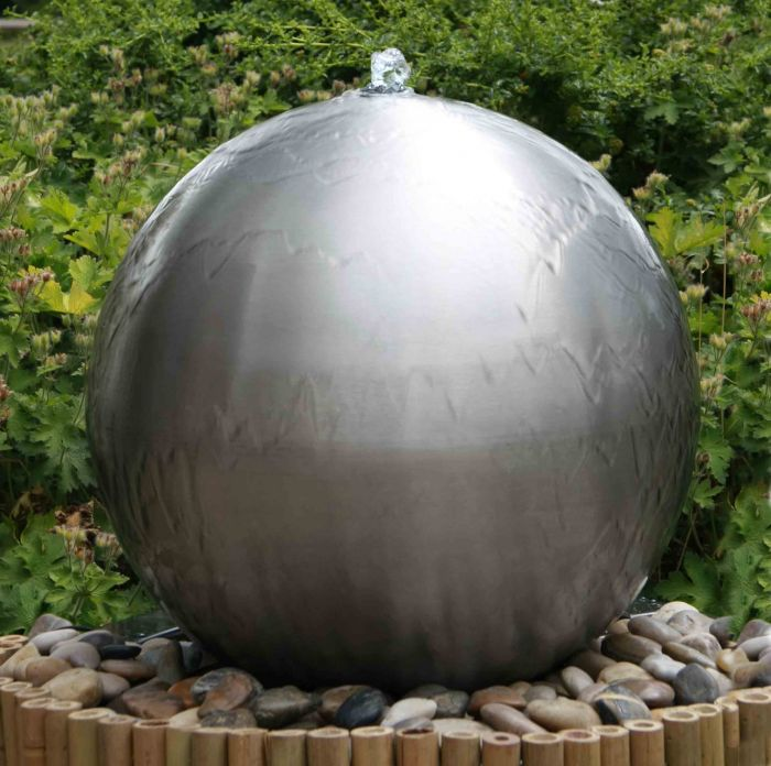 H45cm Brushed Sphere Stainless Steel Water Feature with Lights by Ambienté