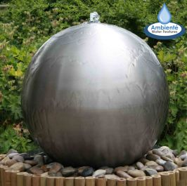 70cm Brushed Stainless Steel Sphere Water Feature, LED lights by Ambienté™