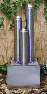 Three Stainless Steel Tubes Water Feature with LED Lights on Tubes and Base