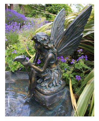 78cm Solar Powered Fairy on a Clam Shell Water Feature with LED Lights by Solaray�