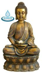 H93cm Golden Buddha Water Feature with Lights & Spinning Ball by Ambienté