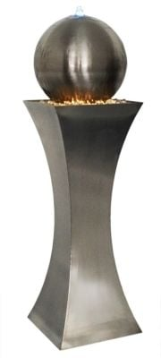 4ft 10 (1.48m) Brushed Stainless Steel Hourglass & Sphere Water Feature with LED Lights (Large) by Ambienté™