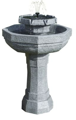 Castille Solar Bird Bath Water Feature with Lights (H75cm) by Solaray™