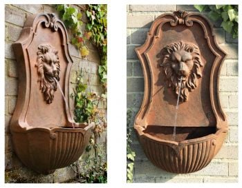 Gentle Lion Head Wall Fountain Water Feature by Ambienté