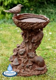 37cm Playful Chipmunks Bird Bath by Ambienté™