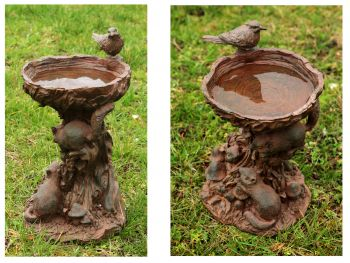 Playful Chipmunks Bird Bath by Ambienté - H37cm