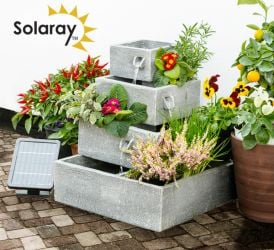 Perth Square 4-Tier Solar Water Feature Cascading Herb Planter - H42cm x W39cm by Solaray™