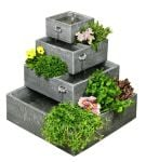 Square 4-Tier Solar Water Feature Cascading Herb Planter - H42cm x W39cm by Solaray�