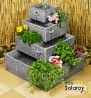 Square 4-Tier Solar Water Feature Cascading Herb Planter - H42cm x W39cm by Eco Solaray�