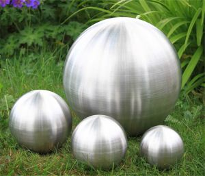 Set of 4 Brushed Stainless Steel Gazing Globe Spheres