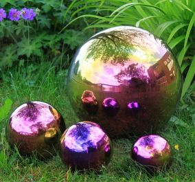 Set of 4 Coloured Stainless Steel Gazing Globe Sphere