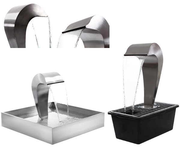 Dolphin Falls Free Standing Stainless Steel Water Feature - Stainless Steel Reservoir