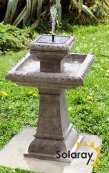 H80cm Pizzaro Solar Bird Bath Water Feature with Lights by Solaray