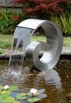 Ammonite 65cm (2ft 1in) Stainless Steel Cascading Water Feature with Plastic Reservoir by Ambienté
