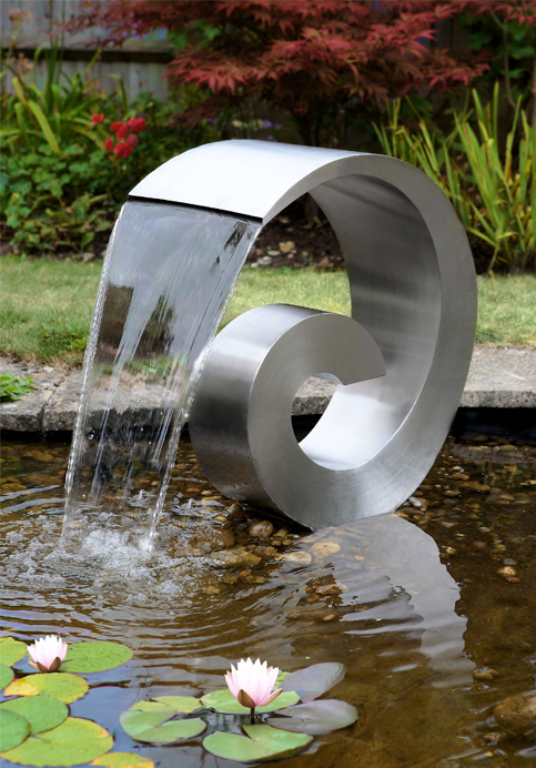 Ammonite 60cm (1ft 8in) Stainless Steel Cascading Water Feature with Plastic Reservoir by Ambienté™
