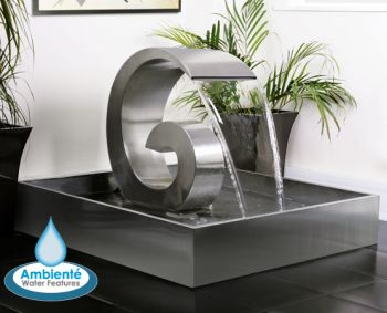Ammonite 50cm (1ft 8in) Stainless Steel Cascading Water Feature with Stainless Steel Reservoir by Ambienté