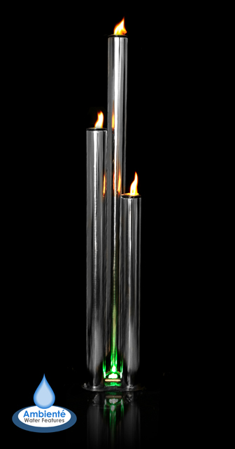 H135cm Kohala 3 Tubes Fire & Water Feature with Colour LEDs | Indoor/Outdoor Use by Ambienté