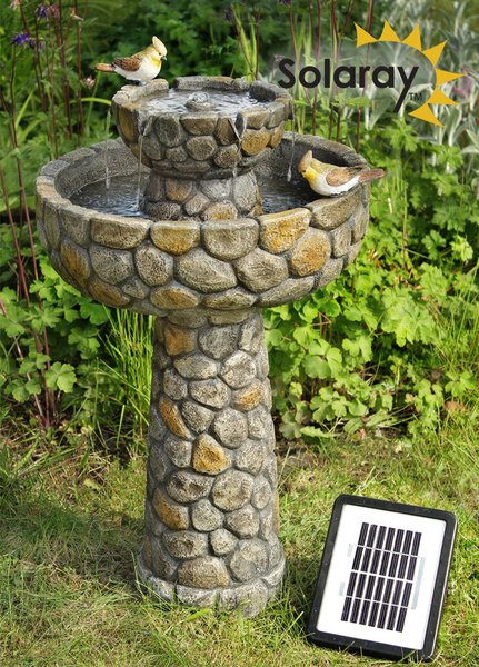 H68cm Cobbled Solar Bird Bath & Water Fountain by Solaray