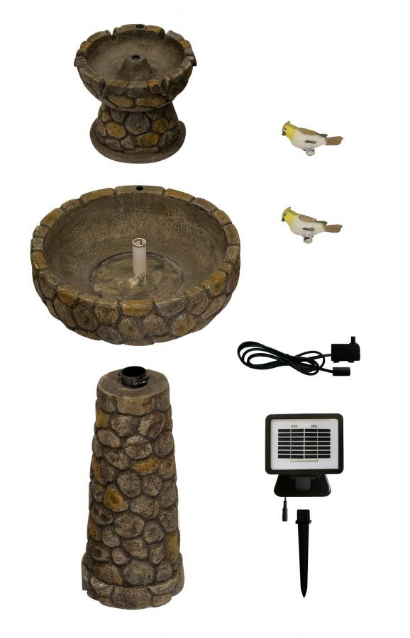 Cobbled Bird Bath and Solar Water Fountain by Solaray™ - H68cm