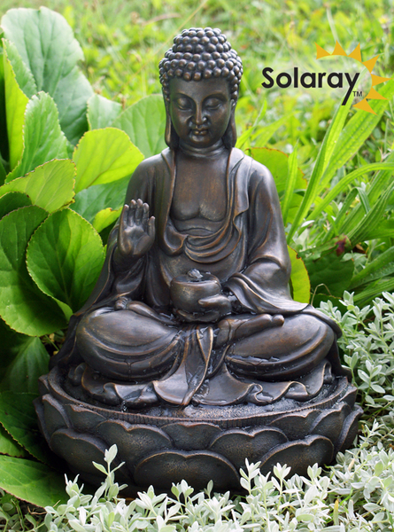 H39cm Anya Buddha Solar Water Feature by Solaray