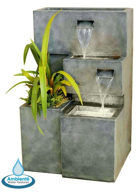 Higgledy Troughs Water Feature and Planter with Lights by Ambienté - H78cm