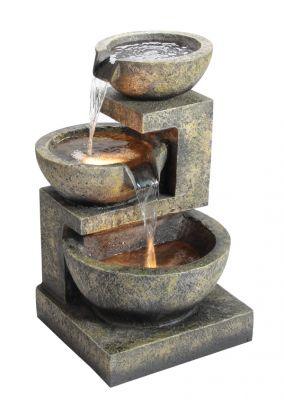 Medium Granite Three Bowls Water Feature with Lights H61cm