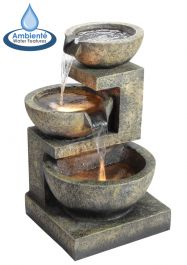 H62cm Kendal 3-Tier Cascading Water Feature with Lights | Indoor/Outdoor Use by Ambienté
