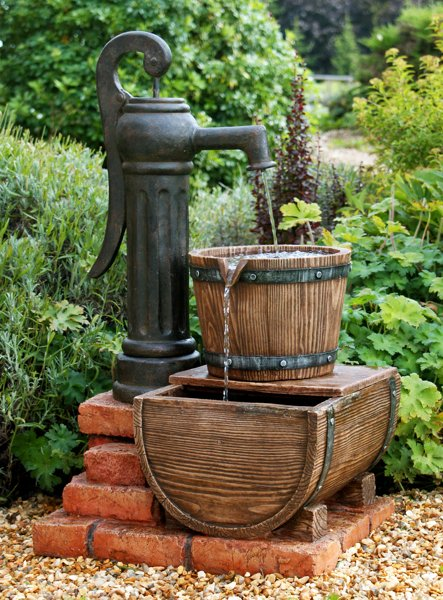 Pump and Barrel Water Feature with LED Lights by Ambienté