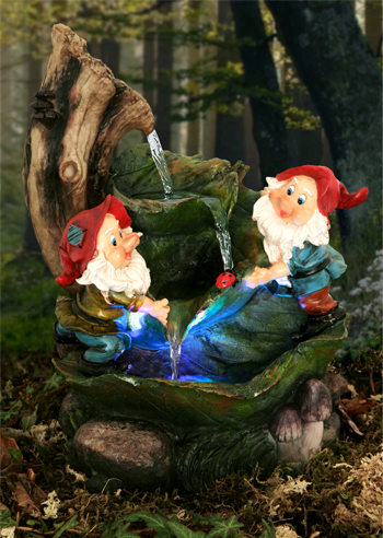 H36cm Two Gnomes on Leaves Water Feature with Lights | Indoor/Outdoor Use - by Ambienté