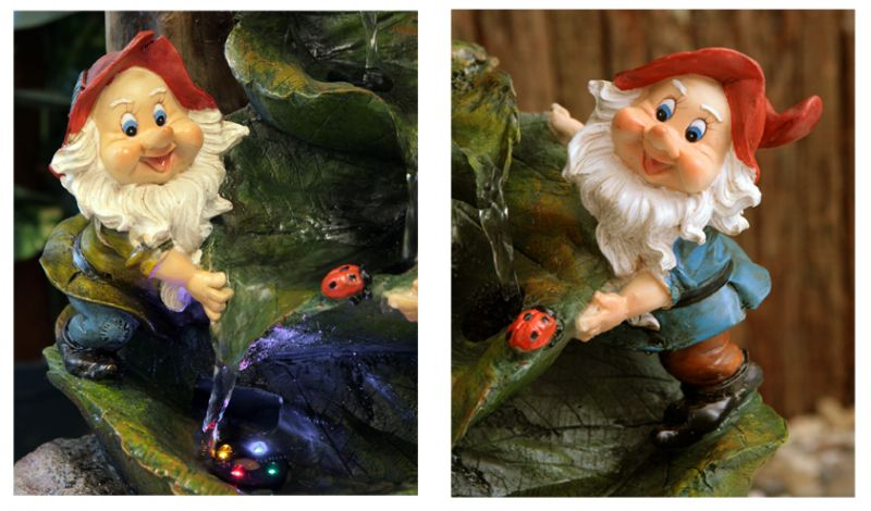 Two Gnomes On Leaves Water Feature With Lights