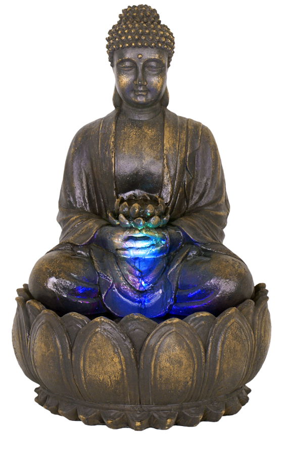 H57cm Blossoming Buddha Water Feature With Lights By Ambient 233 163 99 99
