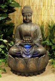 H57cm Blossoming Buddha Water Feature with Lights | Indoor/Outdoor Use by Ambienté