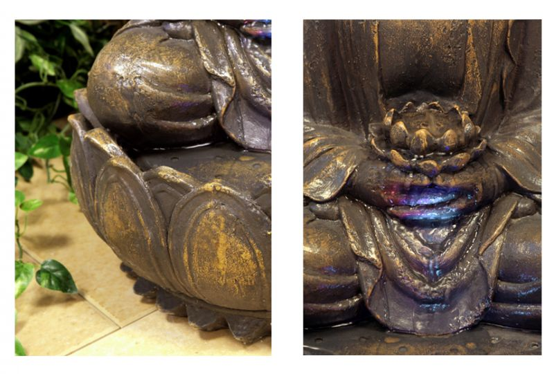 Blossoming Buddha Water Feature with Lights - H57cm