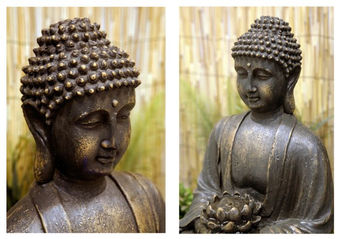 H57cm Blossoming Buddha Water Feature with Lights by Ambienté™